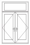 hinged patio door transom over double combination